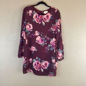 Everly maroon bell sleeve floral print mini dress